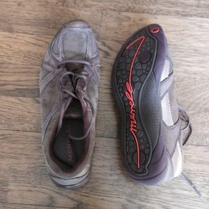 Merrell Aria Performance Shoes Moss Brown Suede …
